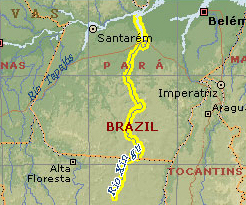 Map showing Rio Xingo flowing north in the Amazon